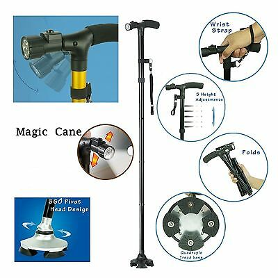 Adjustable Handle Folding Smart Cane With LED Lights Walking Stick Trusty Base D