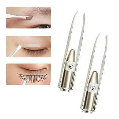 Stainless Steel Make Up LED Light Eyelash Eyebrow Hair Removal Tweezer Beauty