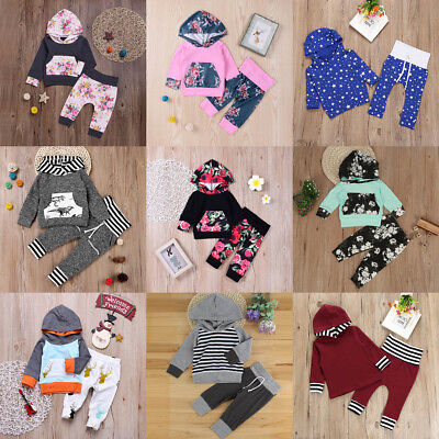 2PCS Newborn Toddler Baby Boys Girls Hooded Tops+Pants Set Kids Clothes Outfits