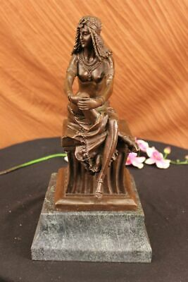 Handcrafted bronze sculpture SALE Nude Egyptian Sitting Signed~Chiparus~ Large