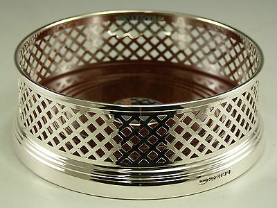 """NEW - Solid Silver - Large Wine Bottle Basket Straight COASTER - 5"""" - Boxed"""