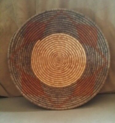 Vintage Handmade African Coil Weave Basket Brown Orange