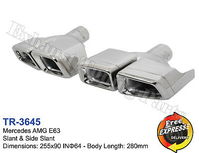 Exhaust tips tailpipe trims dual quad for Mercedes Benz AMG E63 style