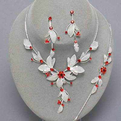 Glitzy Glamour red diamante silver mesh necklace bracelet earring set prom 272