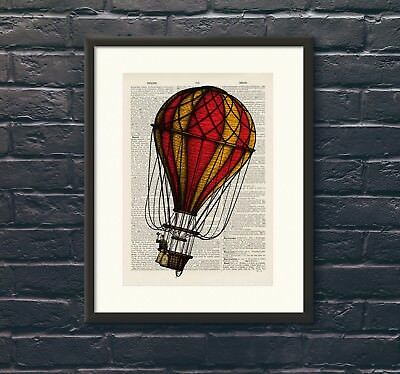 Antique Book page Art Print - Hot Air Balloon 18 Upcycled Dictionary Wall Art