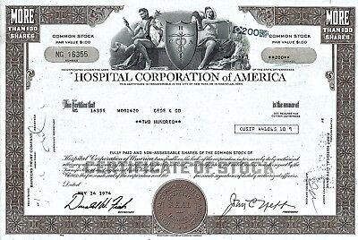 Hospital Corporation of America, Tennessee, 1974 (200 Shares)