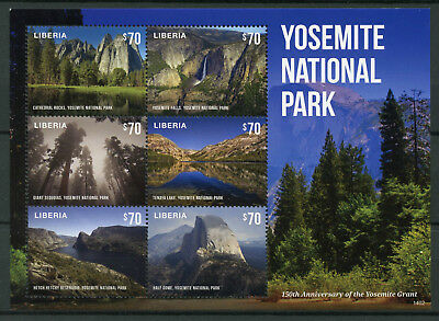 Liberia 2014 MNH Yosemite National Park 6v M/S Grant 150th Falls Sequoias Stamps