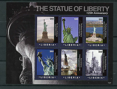 Liberia 2011 MNH Statue of Liberty 125th Anniv 6v M/S New York Monuments Stamps