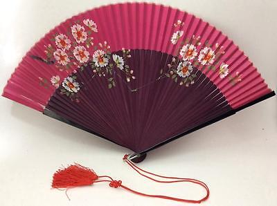 """10"""" ANTIQUE VTG JAPANESE HAND PAINTED Fan silk Pink Red burgandy floral lacquer"""