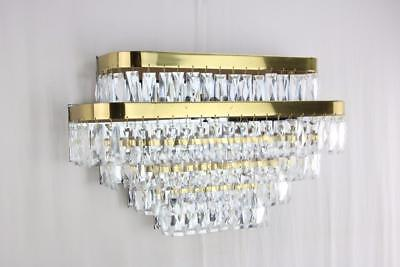 LARGE 1980s Brass & Prism Sconce Fixture Chandelier Tiered Waterfall Modern