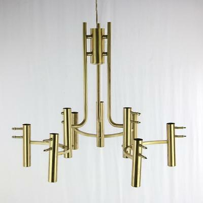 1970s era Italian Brass Chandelier for Parts Requires Shades 9-Light MODERN