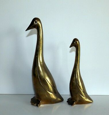 "2 Brass Geese / Goose Figurines, 4 1/4"" Tall and 5 3/4"" Tall, Total of 15 oz"
