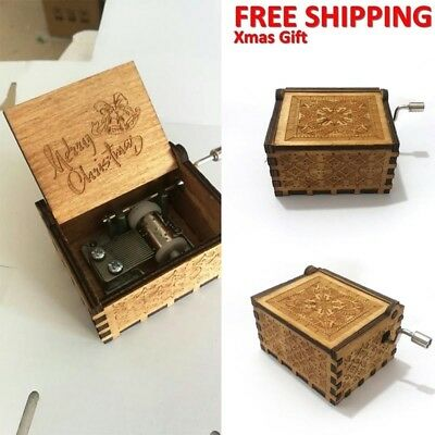 Merry Christmas Music Box Engraved Wooden Music Box Interesting Toys Xmas Gifts