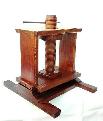 LARGE Antique Heavy Duty Oak Library Book Binding Press signed Wax Laquer 19th