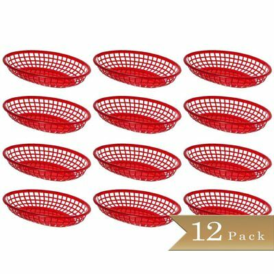 "Pack of 12 - TrueCraftware - Oval Red Plastic Fast Food Baskets - 9 1/4"" X 5"