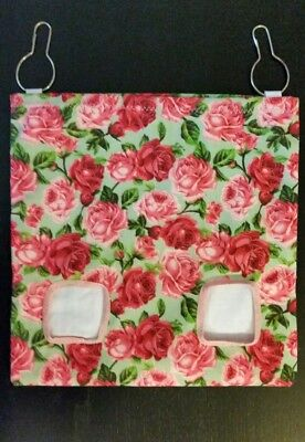 Fabric Hay bag roses on sage green - guinea pig, bunny
