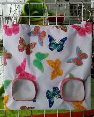 Fabric Hay bag white & butterfly - guinea pig, bunny