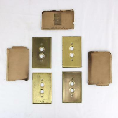 4 Antique Solid Brass John I. Paulding Push Button Switch Wall Plates 1 Gang NOS