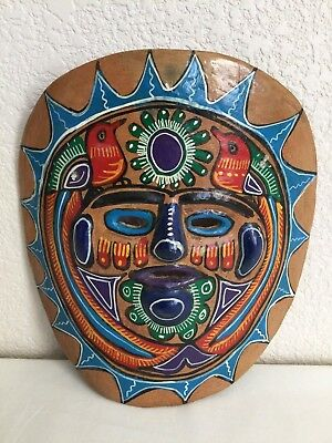 """Mexican Pottery Wall Hanging Mask Colorful Folk Art Home Decor 7 3/4"""""""