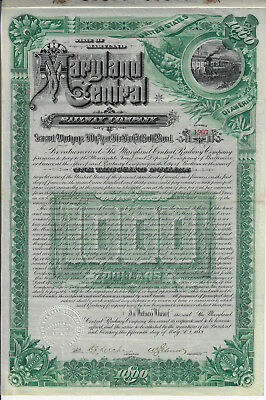 MARYLAND 1889 The Maryland Central Railway Co Bond Stock Certificate