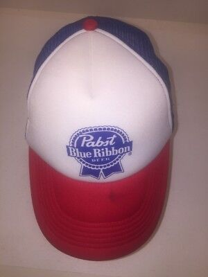 Vintage Pabst Blue Ribbon PBR Red White and Blue Trucker Hat Cap ~ Retro