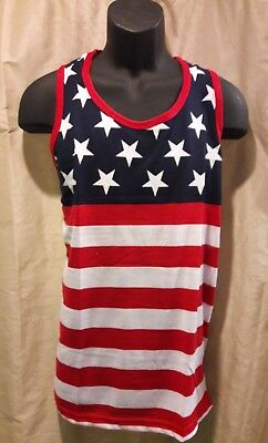 d1d6870137574 Mens American Flag Sleeveless Tank Top 4th Fourth Of July Red White Blue  Stars
