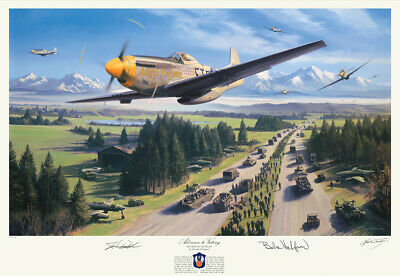 Last Man Home by Nicolas Trudgian signed by 357th Fighter Group Aces