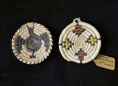Vintage Pair Papago & Hopi Coiled Plaque Baskets by Jane Lomakema Gladys Antone