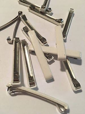 Lot of 8 Vintage Hair Barrette Barrettes White Plastic Silver Metal Hair Clip