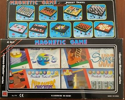 4 Vintage Magnetic Pocket Travel Games Snakes & Ladders Chess Checkers Ludo New