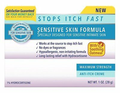 Vagisil Sensitive Skin Formula -Max Strength Anti-Itch Creme with Oatmeal (1 oz)