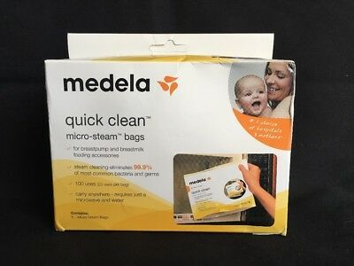 (S) Medela - Quick Clean Micro Steam Bags - 5 Bags/box #87024, New