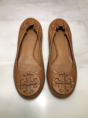 89788f8964e133 Tory Burch Reva brown leather ballet flats shoes Sz 4.5 M Retail 225  Pre-owned