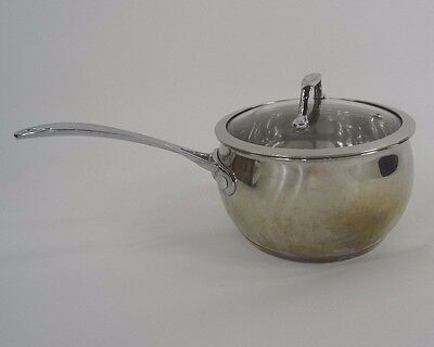David Burke Sauce Pan Pot with Lid Stainless Steel 3 Qt