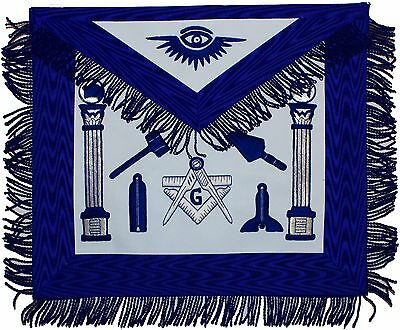 Hand Embroidery Masonic Working Tools Master Blue Mason Apron