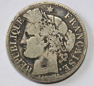 France 1871A Silver Two Francs!!!  Ceres Head!!!