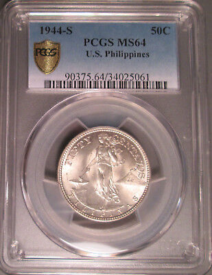 1944 S U.S. Philippines Silver Fifty Centavos (50C), PCGS MS 64