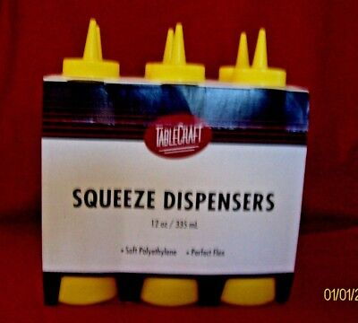 TableCraft Yellow Squeeze Dispensers 12 oz./335 ML  6 pack refillable