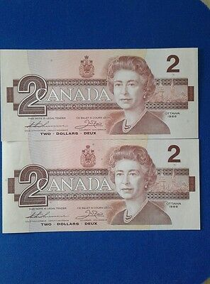 Canada 1986 $2 dollars banknote mint two consécutive serial numbers unc