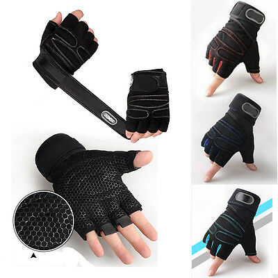 Weight Lifting Gym Gloves Training Fitness Wrist Wrap Sports Exercise Workout