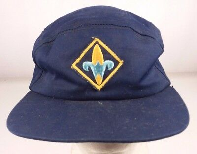 Vintage Youth Cub Scouts America Blue Box Hat 6 7/8 BSA Patch Cap