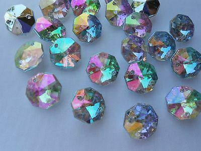 25pcs 14mm Octagon Clear AB Rhinestones Point Sew Acrylic Fancy Strass Crystals