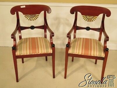40659E:  Pair of French Empire Decorative Mahogany Arm Chairs