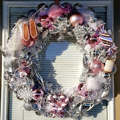 Handmade Shabby Chic Pink, White & Silver Christmas Holiday Ornament Wreath