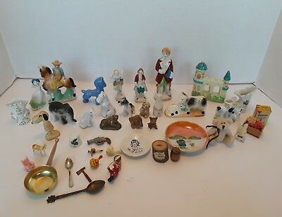 Vintage Antique Miniature Figurines Lot And More Dogs And  Assorted