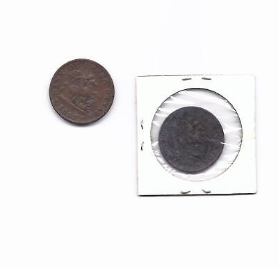 1857 1/2   penny bank of upper Canada 2 coin very good plus