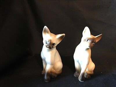 Pair of Small Vintage Ceramic Siamese Cats
