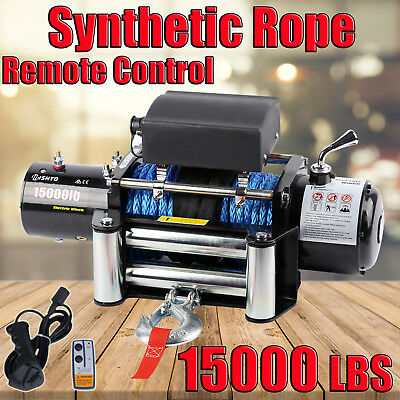 15000LBS / 6800KG Electric Winch Synthetic Rope ATV 4WD BOAT 12V Wirless Remotes