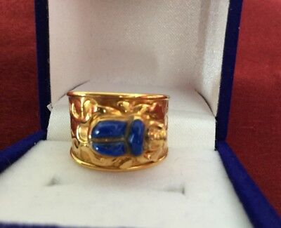 Unique Egyptian Stamped 18K Solid Yellow Gold Lapis SCARAB Ring Sizable Unisex!!