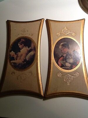 """2 Vintage Florentine Tole Style Hand Painted Wood Framed Prints 11"""" H X 4 1/2"""" W"""